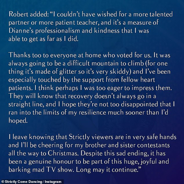 Robert said of the decision: 'I'm extremely sorry to have to announce that I'm withdrawing from Strictly Come Dancing due to ill health'