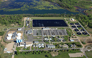 A deal with Denver-based Oak Leaf Energy Partners would provide the Blue Lake Wastewater Treatment Plant near Shakopee with about 5,000 on-site solar panels, enough to independently power the facility. (Submitted photo: Bordner Aerials)