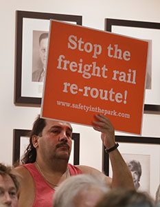 St. Louis Park resident Jerry Vasquez was among those opposing increased freight rail traffic in that city, one of the options for resolving a route issue on the Southwest Light Trail Transit project. A recommendation could come next week. (Staff photo: Bill Klotz)