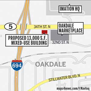 MSP Commercial's new mixed-use building would rise at the southwest corner of Highway 5 and 32nd Street Northeast, just east of Interstate 694.