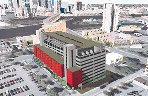 The Rampton Apartments will have 93 units built onto the east side and on top of the 900-space St. Anthony Falls parking ramp at 201 Second Ave. SE in Minneapolis. (Submitted rendering)