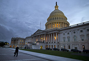 A view of the U.S. Capitol building at dusk Wednesday in Washington. (AP photo: Evan Vucci)