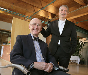"Cuningham Group founder John Cuningham, left, and CEO and president Tim Dufault say they ""looked at each other blankly"" when they found out the architecture firm was being honored by AIA-Minnesota. (Staff photo: Bill Klotz)"
