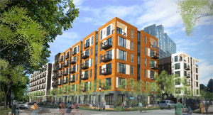 The city's Ways and Means Committee will consider the financing plan for the Five15 on the Park project, which includes some 260 housing units and 6,000 square feet of retail, office and restaurant space at 515 15th Avenue S. (Submitted rendering: BKV Group)