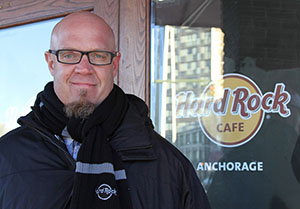 In this photo taken Nov. 20, general manager Scott Brokaw poses outside the Hard Rock Cafe under construction in Anchorage, Alaska. (AP photo: Mark Thiessen)