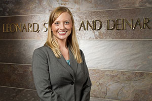 """""""It's really important to see the lawyer as your creative problem-solver — not as an obstacle, but someone who can really be a part of the project team,"""" says Gina Fox, a shareholder specializing in real-estate-related law at Minneapolis-based Stinson Leonard Street. (File photo: Matt M. Johnson)"""
