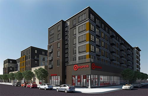The TargetExpress store will occupy the ground floor of GEM Realty Capital's 371-unit Marshall student apartment complex on the former University Technology Enterprise Center site at 1313 Fifth St. SE. (Submitted rendering)