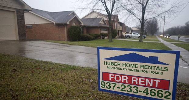 Institutional investors have bought as many as 200,000 U.S. properties in the last two years, taking advantage of low real estate prices and rising demand for rentals among Americans who lost their houses in the foreclosure crisis. This photo shows a home for rent in December in Huber Heights, Ohio. (Bloomberg News file photo)