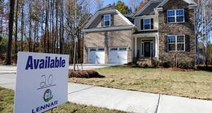 In this Nov. 14, 2013, file photo, a home is advertised for sale in Matthews, N.C. (AP file photo: Chuck Burton)