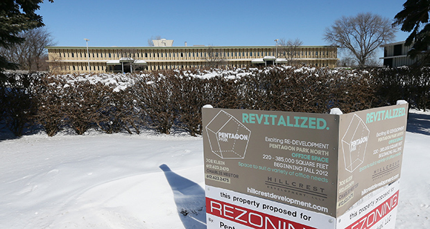 The office building at 4620 W. 77th St. in Edina is one of 16 that would be razed to make way for a new office development at Pentagon Park. (File photo: Bill Klotz)