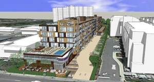 This northwest-facing view shows Trammell Crow's latest six-story, 155-unit apartment complex proposal for 3118 W. Lake St. in Minneapolis. (Submitted rendering: ESG Architects)