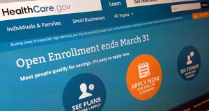 This photo shows part of the website for HealthCare.gov. A major survey out Monday says the U.S. uninsured rate kept dropping last month and it's now on track to reach the lowest levels since 2008. (AP file photo)