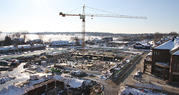 Construction continues on the Promenade of Wayzata mixed use project at the eastern end of the Water Street business district. The five-building project is expected to be completed in 2015. (Submitted photo: Bohland Development)