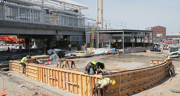 Crews continue work Wednesday on Target Field Station, scheduled to open May 17. Officials aim for the station to serve as a transit hub, entertainment area and development catalyst near Target Field. (Staff photo: Bill Klotz)