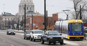 Metro Transit tests light rail trains for the Green Line along University Avenue in St. Paul at the end of March. Planners working on the 11-mile line between St. Paul and Minneapolis estimated prices would grow by 3.5 percent annually. (Staff photo: Bill Klotz)