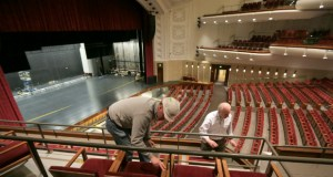 As the University of Minnesota prepared to unveil its remade Northrop Auditorium this week, crews were still finishing detail work, like installing seats in a lower level balcony.j (Staff photo: Bill Klotz)