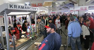 Target Field's main concourse is part fair midway, part mall rotunda and part farmer's marketplace. Its open-to-the-field design is aimed at enticing fans to roam during games and open their wallets as well. (Staff photo: Bill Klotz)