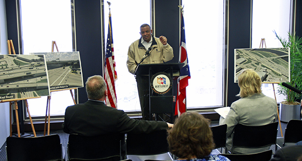 Transportation Secretary Anthony Foxx speaks to journalists and local government officials Monday about federal transportation funding at the Montgomery County Commissioner's office in Dayton, Ohio. (AP Photo: Skip Peterson)