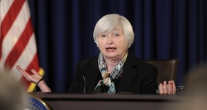 Federal Reserve Chair Janet Yellen speaks during her first news conference at the Federal Reserve in Washington on March 19. On Tuesday, Yellen told a banking conference in Atlanta that current rules on how much capital banks must hold to protect against losses don't address all threats. (AP file photo)