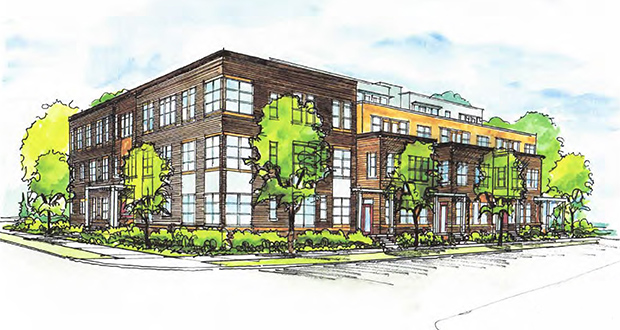 The Minneapolis-based Lander Group has proposed a four-story apartment building at the northwest corner of Colfax Avenue and 24th Street West in Minneapolis. The building would be stepped back from Colfax Avenue. (Submitted rendering)