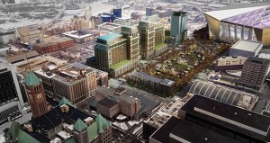Rick Collins, vice president of development for Ryan Cos. US Inc., is leading one of the area's biggest, most complicated redevelopments in years: the $420 million Downtown East project over five blocks near the new Vikings stadium. (Submitted rendering)