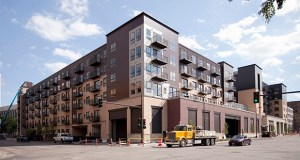 222 Hennepin Apartments in downtown Minneapolis. The downtown Minneapolis vacancy rate jumped from 2.2 percent to 5 percent between the first quarters of 2013 and 2014, according to Marquette Advisors, which attributed the jump in to the new luxury units hitting the market this year in the midst of an apartment building boom. (File photo: Bill Klotz)
