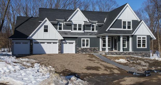 This photo was taken in the final stages of construction on a two-story house at 5445 Black Oaks Lane N. in Plymouth. The house, which sold in April for $1.495 million, is one of 20 homes planned in O'Donnell Woods, a luxury development taking shape in Plymouth. (Submitted photo: Spacecrafting)