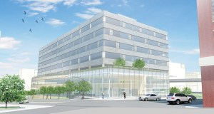 United Properties plans to raze the Shapco Printing building and construct a $57 million, 240,000-square-foot office building, which will be the future home of the National Marrow Donor Program. (Submitted rendering)
