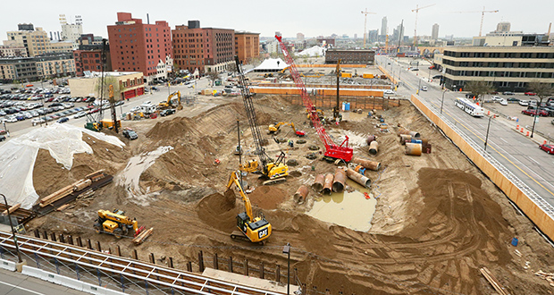 Excavation on the Downtown East block on the northeast quadrant of South Fourth Street and Fifth Avenue in Minneapolis has been underway for weeks. (Staff photo: Bill Klotz)
