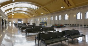 Union Depot will welcome passenger trains after a 43-year hiatus when Amtrak's Empire Builder arrives Wednesday night in St. Paul. Though several of the services at the station are now operational, the building is still looking for tenants. (File photo: Bill Klotz)