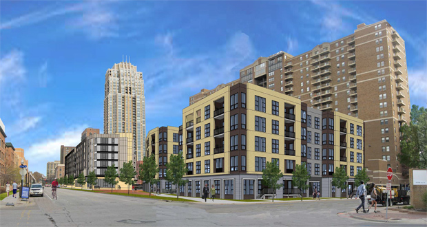 The Ecumen building would be immediately south of the RiverWest condominium building (right) and a block southeast of the Carlyle condominiums (left). (Submitted rendering: BKV Group)