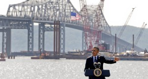 President Barack Obama carried his plea for more money to replace aging infrastructure on Wednesday to New York, where the federal government has provided a $1.6 billion loan to rebuild the busy Tappan Zee Bridge. Obama, shown speaking near the bridge in Tarrytown, is calling on Congress to pass a $302 billion transportation infrastructure bill. (AP Photo: Julie Jacobson)