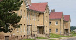 Former cavalry barracks at historic Fort Snelling, known as Buildings 17 and 18, are showing signs of wear. The buildings are up for repairs with asset preservation money from the 2014 legislative session. (Staff photo: Bill Klotz)