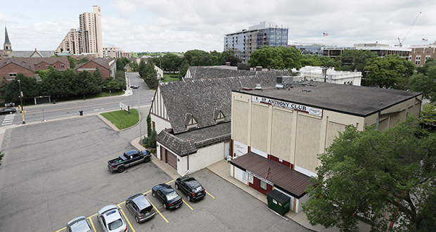 Developer Alatus LLC has a contract to buy the Washburn-McReavy Funeral Chapel, (background) at 200 Central Ave. SE in Minneapolis, and the St. Anthony Athletic Club (foreground), at 113 Second St. SE. The company plans to develop a residential high-rise building on the site. (Staff photo: Bill Klotz)