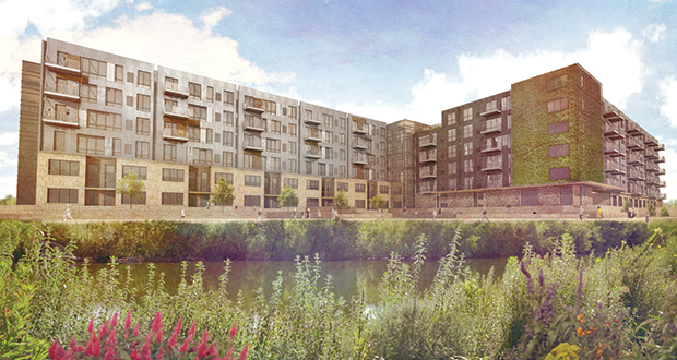 As part of the Lyndale Gardens mixed use project in Richfield, the Cornerstone Group plans a mix of about 150 market-rate and affordable housing units. (Submitted rendering: The Cornerstone Group)