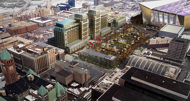 The new Wells Fargo office buildings in downtown Minneapolis will feature six medallions that were attached to the Star Tribune building. (Submitted rendering: Ryan Cos. US Inc.)