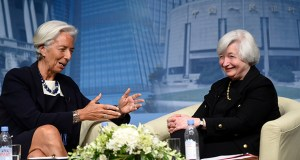 International Monetary Fund Managing Director Christine Lagarde, left, and Federal Reserve Chair Janet Yellen sit down for a conversation Wednesday at the IMF in Washington. (AP photo: Susan Walsh)