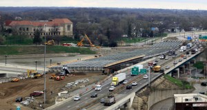 This April 14 photo shows a section of the I-75 Phase II modernization project underway in Dayton, Ohio. (AP file photo)