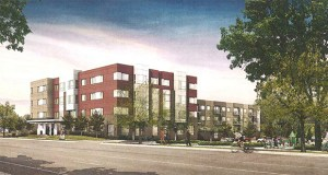 Project for Pride in Living's Oxford Village is a 51-unit affordable housing development planned on the southeast corner of Oxford Street and Blake Road in Hopkins. The nonprofit aims to integrate the project with improvements like the upgraded Cottageville Park seen to the right of the building. (Submitted rendering: City of Hopkins)