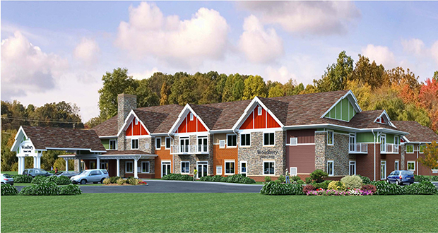 The 76-unit Red Rock Senior Living project at 2195 Century Ave. in Woodbury broke ground recently and is scheduled to open in June. (Submitted rendering: Frisbie Architects)