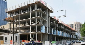 July was a big month for multifamily permits, including the 319-unit Latitude 45 project under construction at 301 Washington Ave. S. in downtown Minneapolis. (File photo: Bill Klotz)