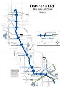 The Bottineau Light Rail Transit project is a 13-mile extension of the Blue Line from Minneapolis to Brooklyn Park. (Submitted map) Click for larger map.