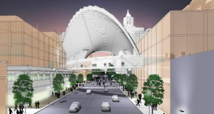 """The Destination Medical Center planning team envisions a crystalline roof dubbed a """"Light Pavilion"""" over Second Street and First Avenue in downtown Rochester, right at the heart of a neighborhood they're calling """"The Center."""" (Submitted rendering: Destination Medical Center Corp.)"""