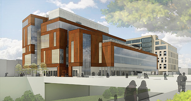 The Ackerberg Group is now proposing a roughly 200,000-square-foot office and retail building called MoZaic East on the southwest quadrant of Fremont Avenue South and West 29th Street in Minneapolis. The project would be adjacent to the MoZaic office building. (Submitted rendering: Perkins+Will)