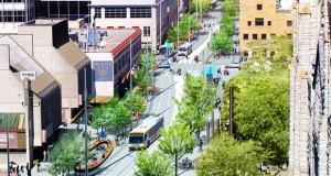 "The city of Minneapolis is nearing a decision on a construction manager for the $50 million ""Nicollet Mile"" project, which is meant to turn the tired 12-block bus and pedestrian corridor into a trendy urban destination. (Submitted rendering: James Corner Field Operations)"