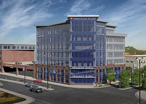 Profinium Place will be a seven-story 75,000-square-foot office complex on a corner lot that will serve as a gateway to downtown. (Submitted rendering: I+S Group)