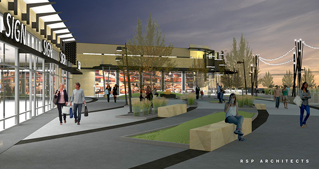 Elion Partners and Kraus-Anderson plan to redevelop the former State Farm site in Woodbury into a 700,000-square-foot mixed-use campus with shopping, restaurants, a hotel and new office space. (Submitted rendering: RSP Architects)
