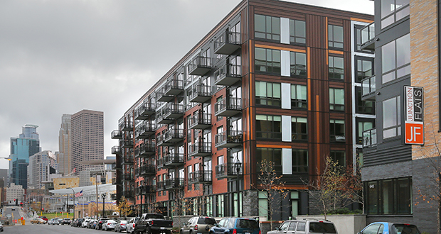 The Junction Flats apartments, at 643 N. Fifth St. in Minneapolis, are among new buildings leasing well in downtown Minneapolis. The vacancy rate for downtown Minneapolis apartments is 3.1 percent, according to Marquette Advisors. (Staff photo: Bill Klotz)