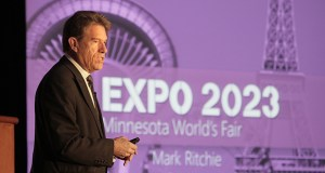 Outgoing Minnesota Secretary of State Mark Ritchie speaks about the World's Fair on Wednesday at the annual MnCAR Expo in Minneapolis. (Staff photo: Bill Klotz)