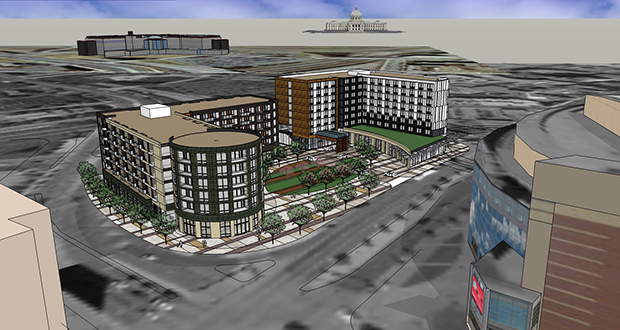The Opus Group and Greco LLC have proposed two buildings with retail, multifamily housing and a hotel on the Seven Corners-Gateway site just west of Xcel Energy Center in St. Paul. (Submitted rendering)
